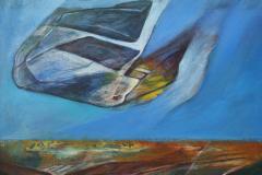 Olasz Attila Égi látogató 2014 akril lemez 40 x 40 cmk