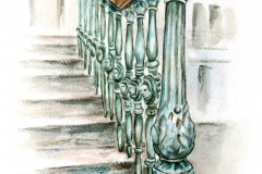A Rektori Hivatal lépcsőházának korlátja öntöttvas elemekből áll, rozettáit női fejek és virágok díszítik