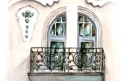 A Móricz-ház erkélyrácsainak szívet formáló motívumai