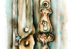 A Gróf-palota kapurészlete a kulcspajzzsal